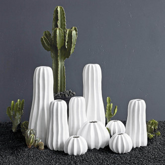 Ensemble de vases en céramique blanche en forme de cactus ASA Home collection