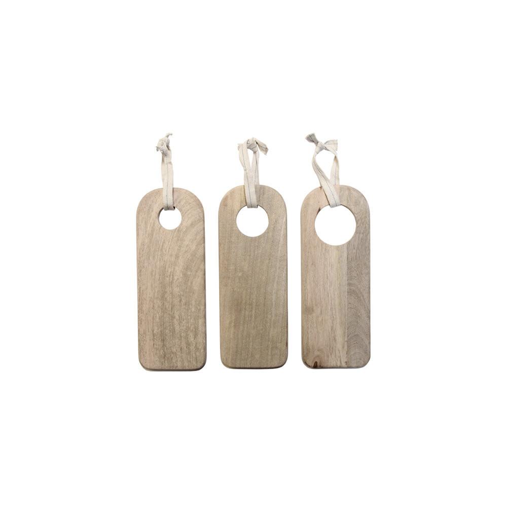 Set de 3 planches en manguier brut pour service apéro