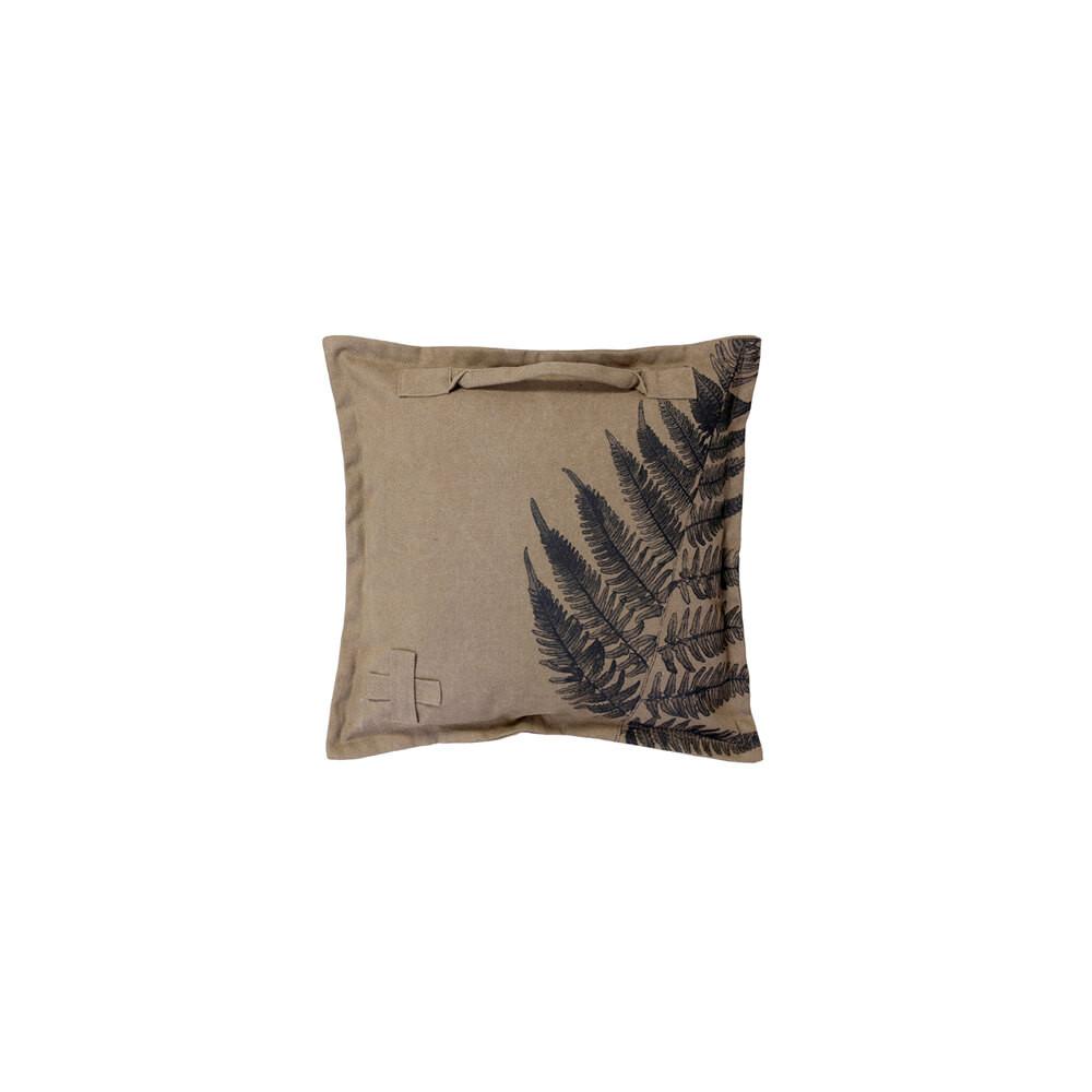 Coussin garni, housse en coton vieilli (stonewashed) impression fougère, 45 x 45 cm