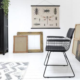 Grande toile de coton imprimée insecte façon vintage