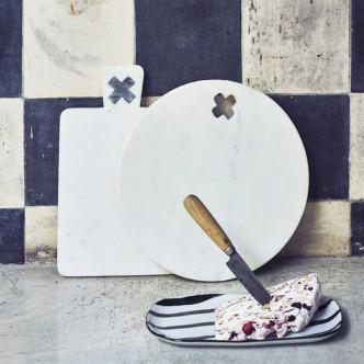 Planche à découper rectangulaire en marbre blanc et gris