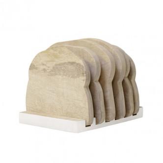 6 planchettes en bois sur support façon pain de mie