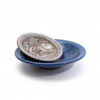 2 Plats marocains, poterie artisanale peinte à la main