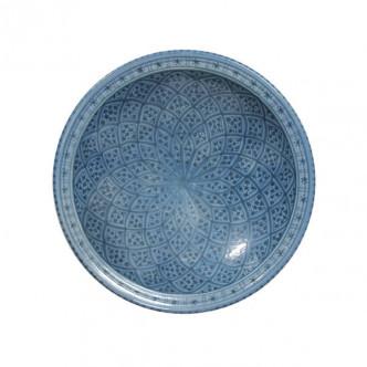 Grand plat creux marocain peint à la main motif bleu