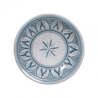 Grand plat creux motif bleu oriental peint main