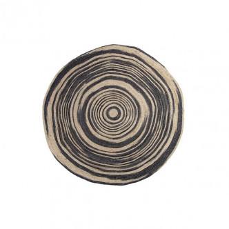 Tapis rond en fibre de jute naturelle fait main