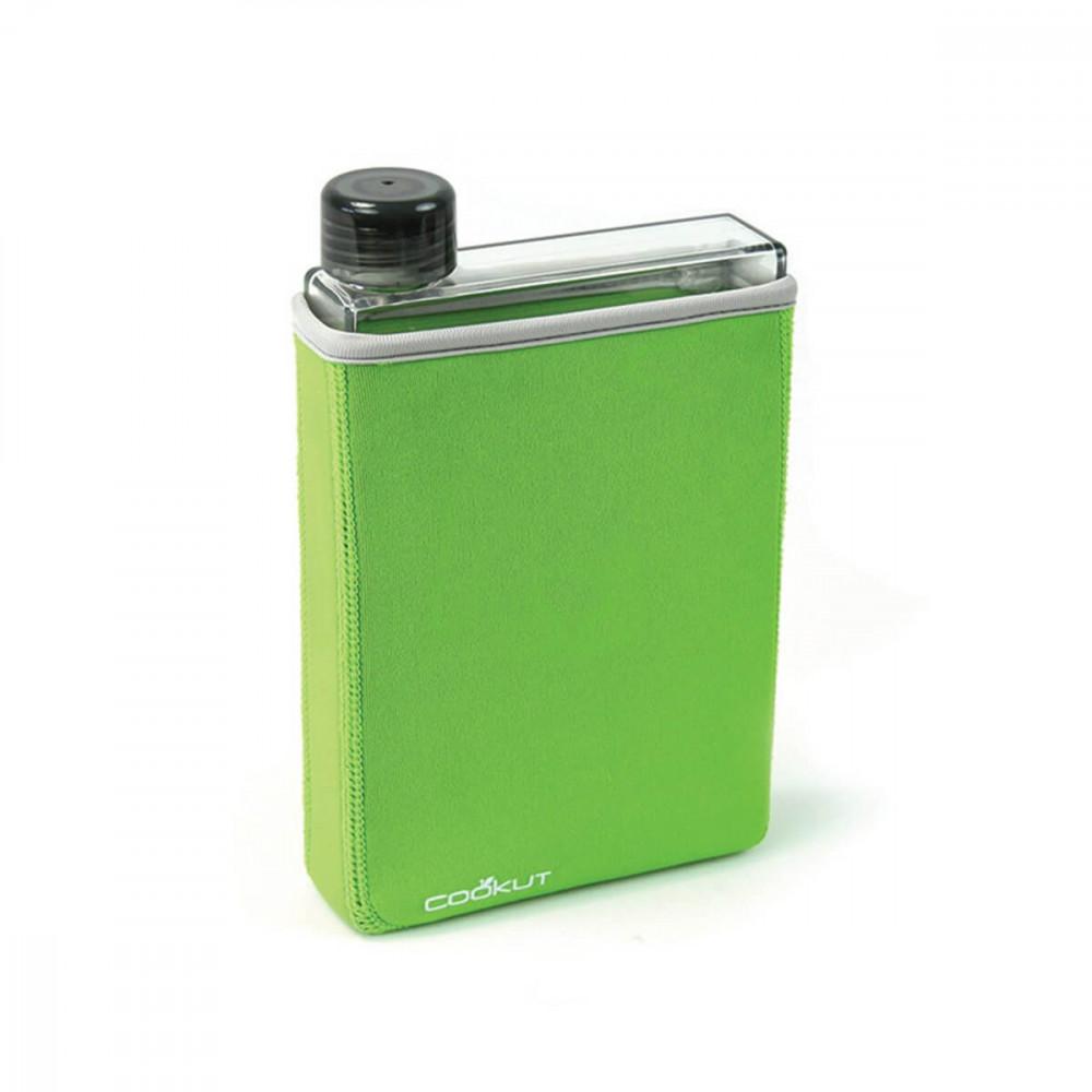 Bouteille plate en plastique sans BPA avec housse néoprène isotherme par Cookut
