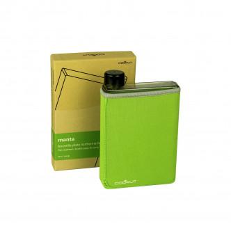 Bouteille plate en plastique sans BPA avec housse néoprène isotherme vert pomme par Cookut