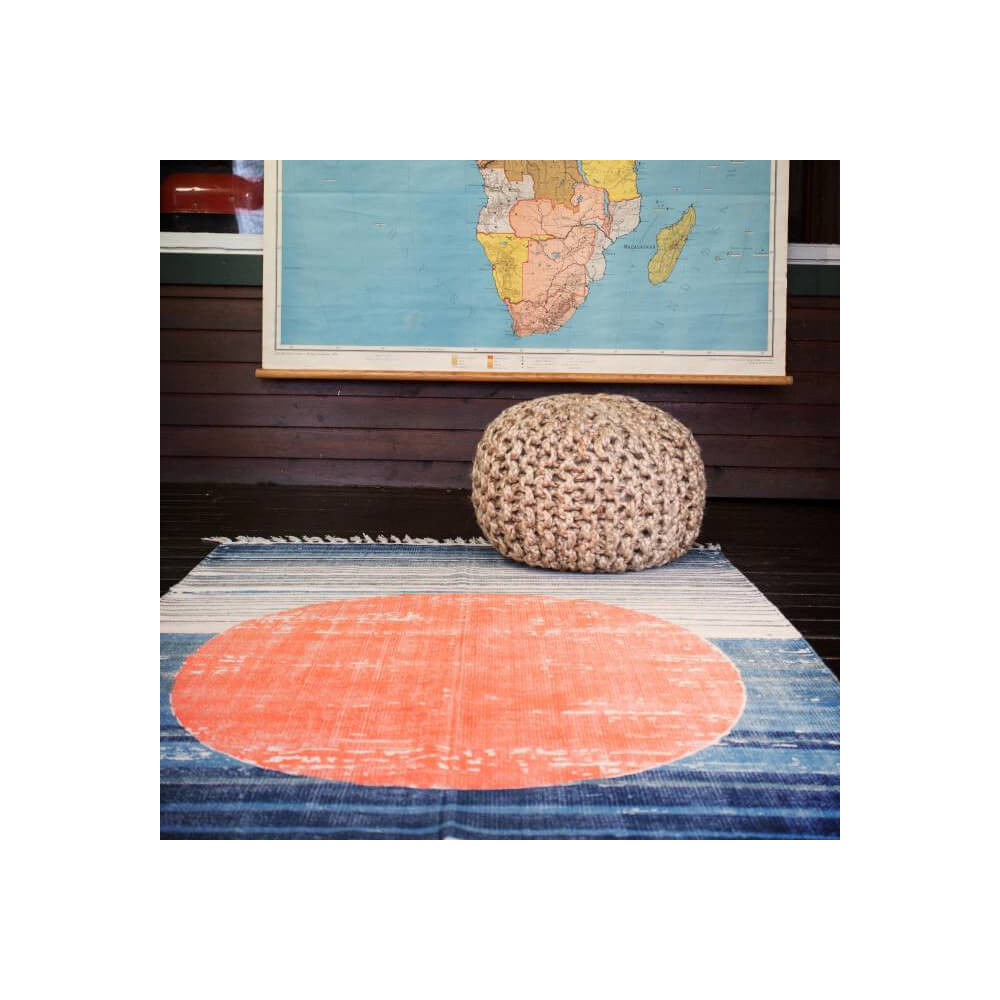 Tapis STBR 100% coton bleu et orange aspect délavé 1,20 x 1,80 m
