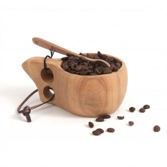 Tasse en bois monobloc et lacet cuir par Storebror