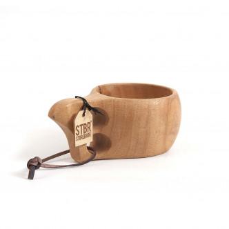 Tasse en bois massif monobloc et lacet cuir STBR