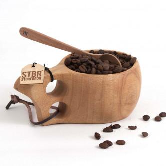Kuksa en bois massif monobloc et lacet cuir STBR