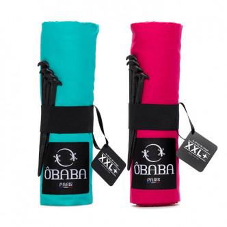 Draps de plage XXL, turquoise et framboise, OBABA Paris