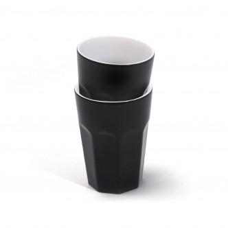 2 grands gobelets en céramique noire et blanche