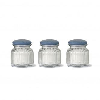 3 bocaux de conservation en verre strié, couvercle émaillé, vintage