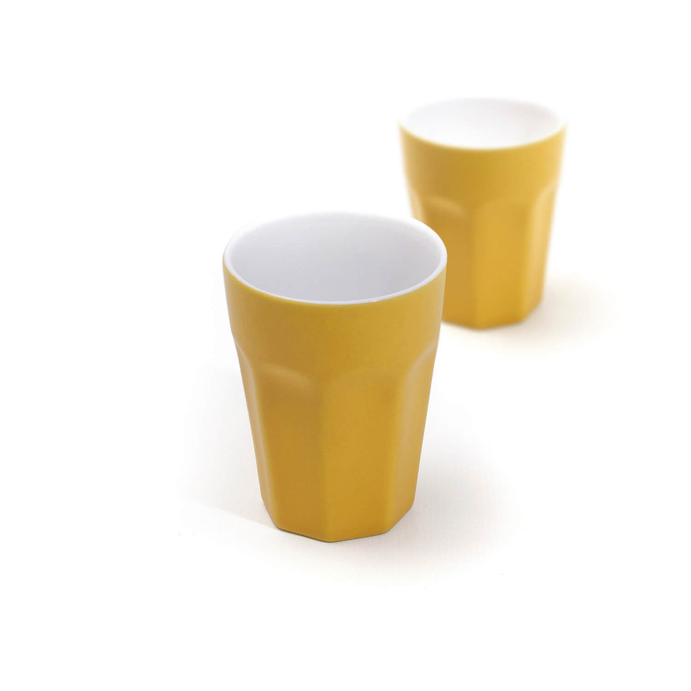 Mugs en céramique jaune mate 25 cl vintage