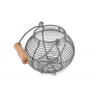 Petit panier en acier pour têtes d'ail ou œufs. Pougnée en bois
