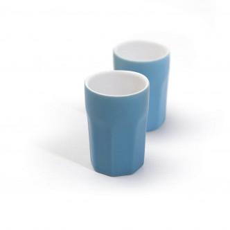 2 petits gobelets à café en céramique turquoise mate