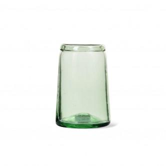 Vase forme tulipe en verre recyclé soufflé bouche