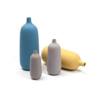 Vases Selena en céramique mate bleu, gris ou jaune. 3 tailles