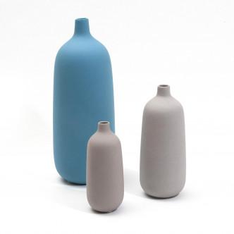Grand vase bleu et vases petit et moyen gris Selena