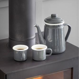 Pot à café en acier émaillé gris ourlé blanc vintage